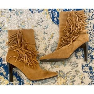Real Leather Suede Fringe Boho Boots 9.5